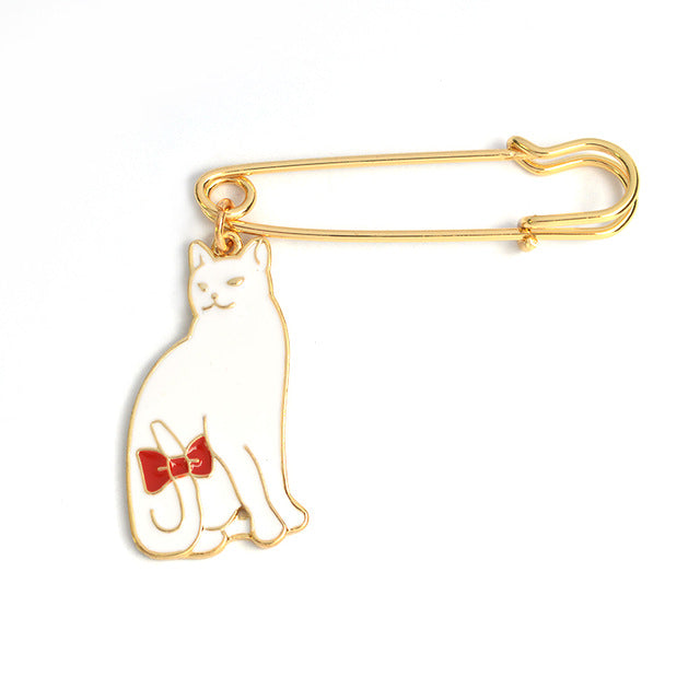 Black or White Cat Lover's Brooch Pin - Moonbeam Distribution