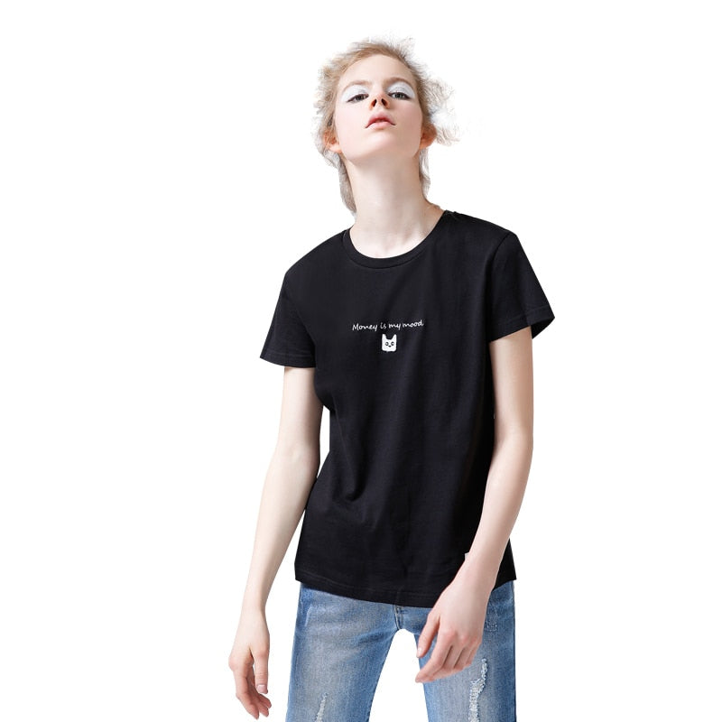 Embroidered Cat Simple Tee with Money is My Mood - Moonbeam Distribution