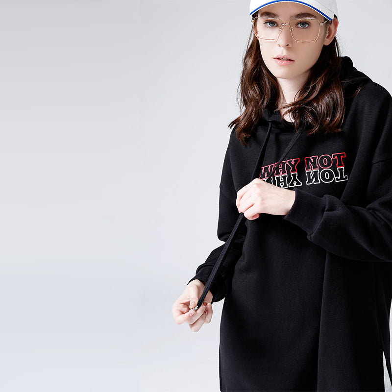 "Loose Style Long Length Hoodie ""Why Not"" - Moonbeam Distribution"