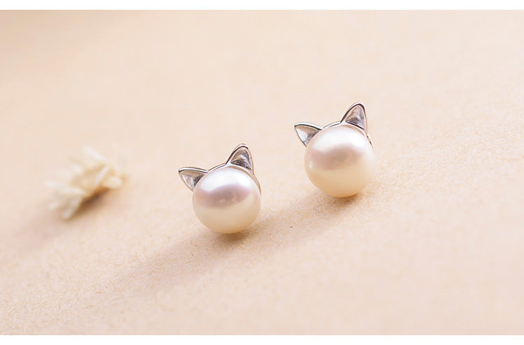 Pearl Studded Earrings with Cute Cat Ears - Moonbeam Distribution