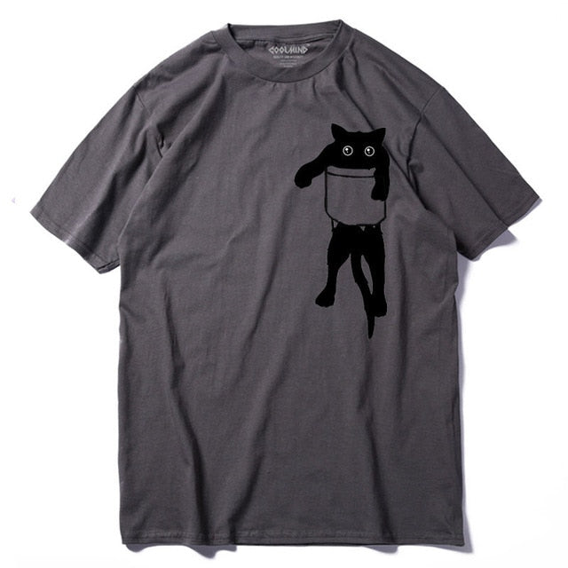 Men's Black Cat in Pocket Tee - Moonbeam Distribution