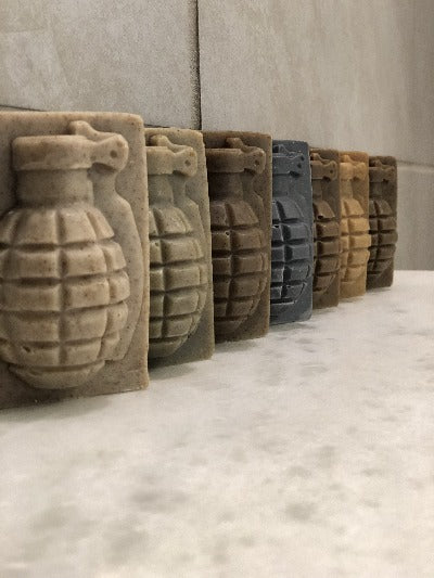 6 Grenade Soaps angled on shelf