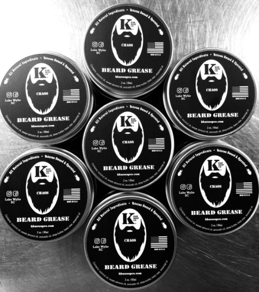 Multiple tins of Chaos Beard Grease