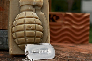 Cash Sales Grenade Soap with Soap Dish in Background