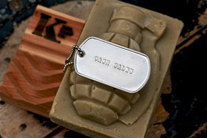 Cash Sales Grenade Soap on top of Soap Dish with dog tag