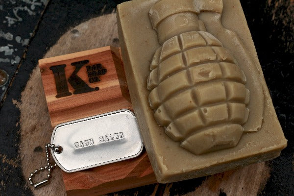Cash Sales Grenade Soap on top of Soap Dish