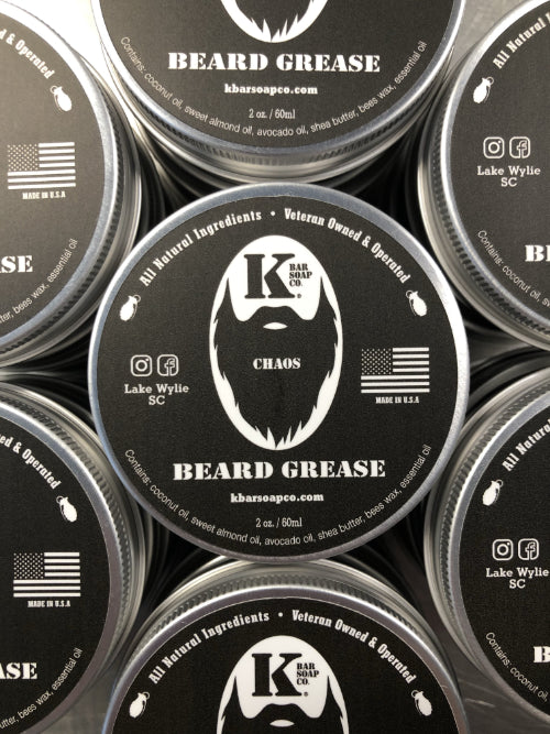 Tin of Chaos Beard Grease Close-up
