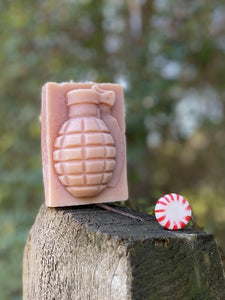 Chest Candy Peppermint Grenade Soap on Wood
