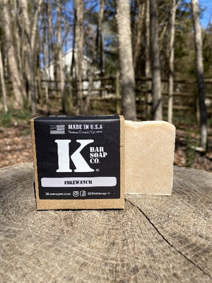 K Bar Firewatch Soap Bar in black packaging with logo