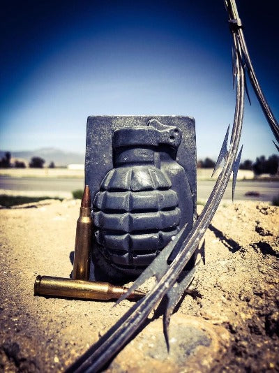Grenade Soap outside in dirt