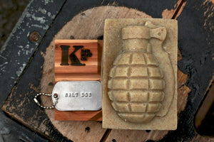Salt Dog Grenade Soap with dog tag on wooden flag soap dish
