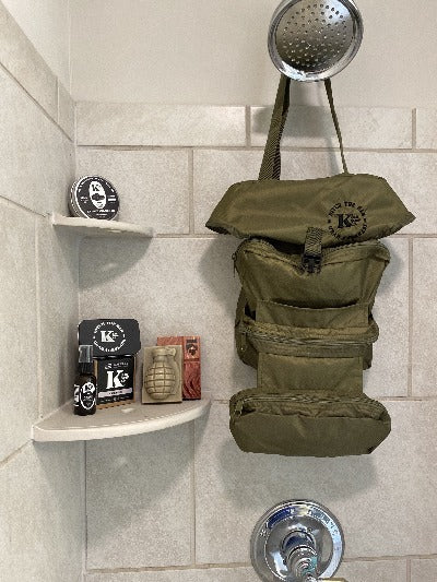 K Bar Ditty Bag hanging in shower