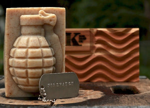 Firewatch Cedar Scent Soap Grenade on camo with dog tag