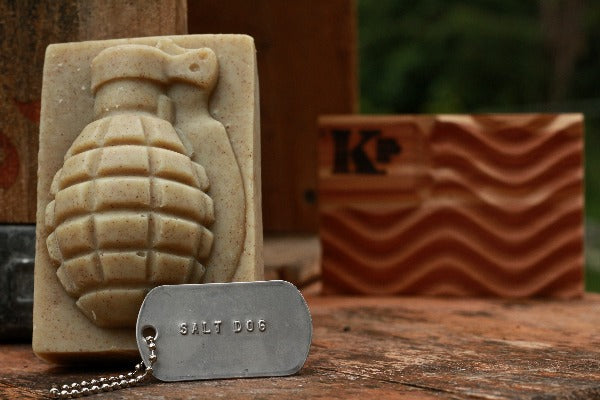 Salt Dog Grenade Soap with dog tag and cedar soap dish