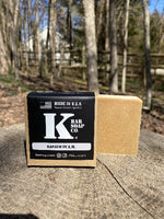 K Bar Napalm in the AM Soap Bar in black packaging with logo