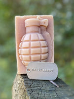 Chest Candy Peppermint Grenade Soap with dog tag