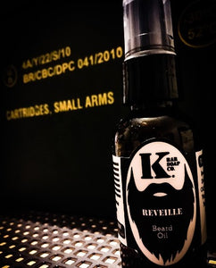 Reveille Beard Oil with black background