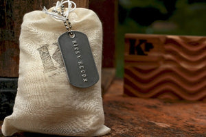 Ricky Recon Grenade Soap packaged with cedar soap dish in background