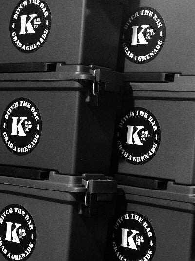 Six 5.56 Ammo Cans stacked with K Bar logo