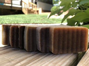6 bars of natural soap angled outside