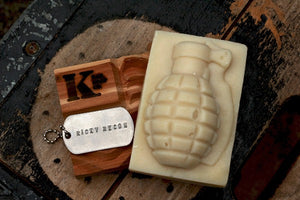 Ricky Recon Grenade Soap with dog tag on top of cedar soap dish