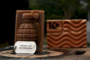 Whiskey & Bad Decisions Grenade Soap with dog tag and cedar flag K Bar soap dish