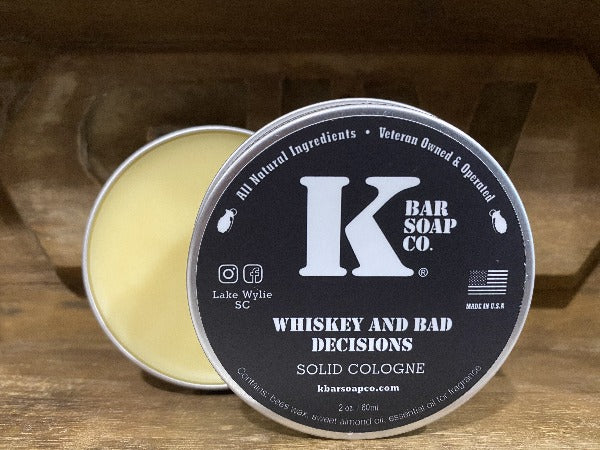 Whiskey & Bad Decisions Solid Cologne tin open