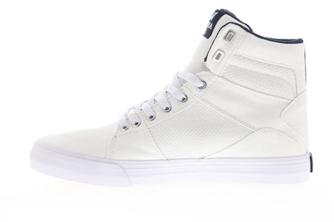 Supra Aluminum 05662-101-M Mens White Canvas High Top Sneakers Shoes