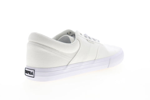 Supra Cobalt 05663-100-M Mens White Canvas Low Top Lace Up Skate Sneakers Shoes