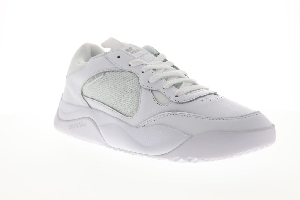 Supra Pecos Mens White Leather Amp Mesh Low Top Lace Up