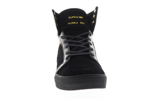 Supra Skytop Mens Black Suede Athletic Lace Up Skate Shoes