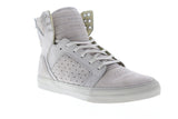 Supra Skytop 08003-093-M Mens Gray Suede Casual Lace Up High Top Sneakers Shoes