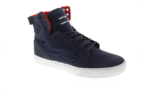 Supra Skytop Mens Blue Textile High Top Lace Up Sneakers Shoes