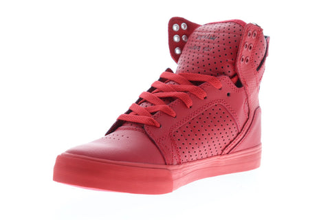 Supra Skytop 08174-666-M Mens Red Synthetic Lace Up High Top Sneakers Shoes