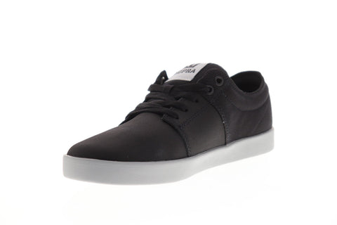 Supra Stacks II Mens Black Canvas Athletic Lace Up Skate Shoes