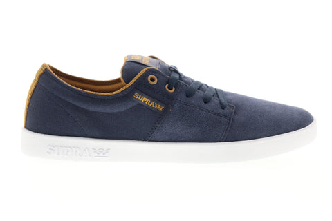 Supra Stacks II 08183-455-M Mens Blue Suede Low Top Lace Up Skate Sneakers Shoes