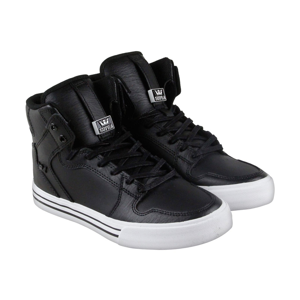 56475bf2d1 Supra Vaider Mens Black Leather High Top Lace Up Sneakers Shoes ...