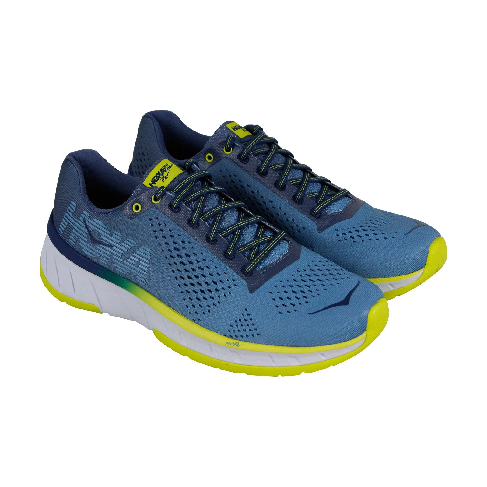 best website 9b879 d047b Hoka One One Cavu Mens Blue Textile Athletic Lace Up Running Shoes