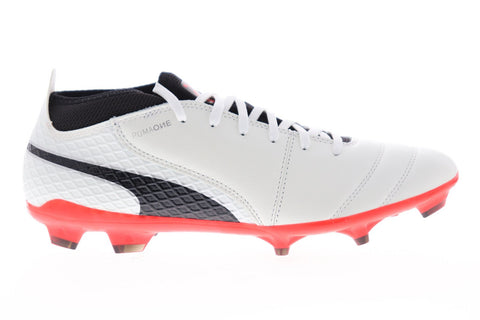 Puma One 17.2 Fg Mens White Leather Athletic Lace Up Soccer Cleats Shoes
