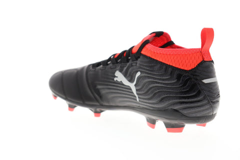 Puma One 18.3 Fg Mens Black Leather Athletic Lace Up Soccer Cleats Shoes