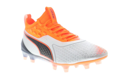 Puma One 1 Fg Ag Mens Sliver Orange Synthetic Athletic Lace Up Soccer Shoes