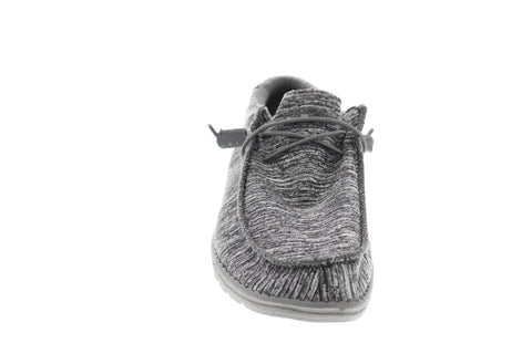 Hey Dude Wally L Mens Gray Textile Casual Dress Lace Up Boat Shoes