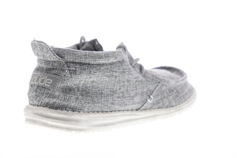 Hey Dude Conrad Linen 111663901 Mens Gray Surf Deck Lifestyle Sneakers Shoes