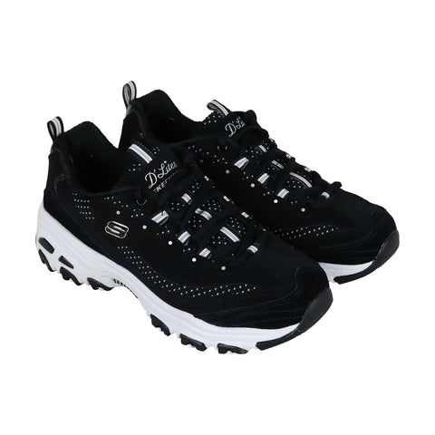 Skechers Polka Nite Mens Black Textile Athletic Lace Up Running Shoes