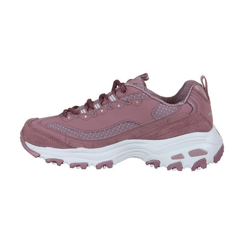 Skechers Polka Nite Mens Pink Textile Athletic Lace Up Running Shoes