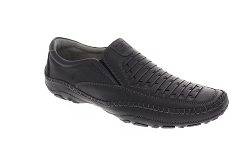 GBX Strike Mens Black Leather Casual Dress Slip On Loafers Shoes
