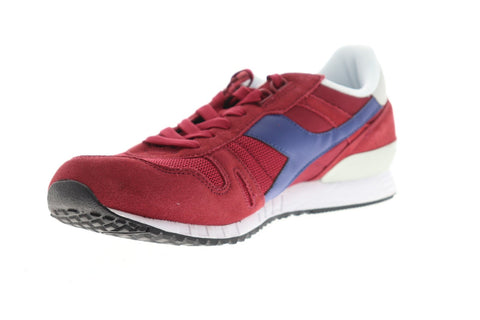 Diadora Titan II Mens Red Suede & Nylon Athletic Lace Up Running Shoes