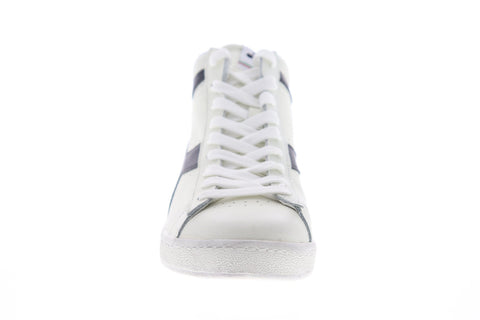 Diadora Game L High Waxed 159657-C0351 Mens White Leather High Top Sneakers Shoes