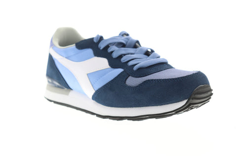 Diadora Camaro Mens Blue Suede & Nylon Athletic Lace Up Running Shoes