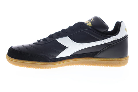 Diadora Gold Indoor 174822-80013 Mens Black Leather Lifestyle Sneakers Shoes